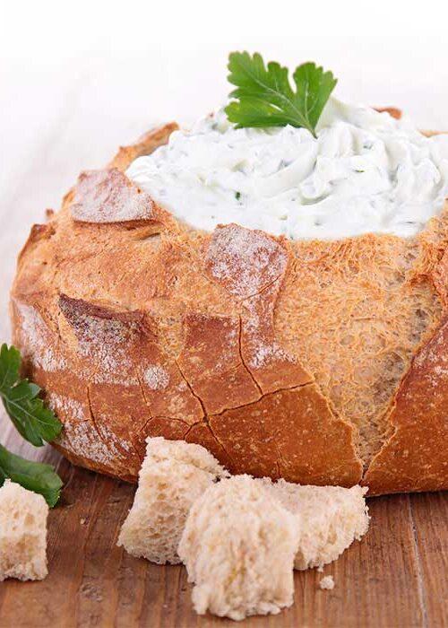 Creamy Spinach Dip in Sourdough Bread Bowl